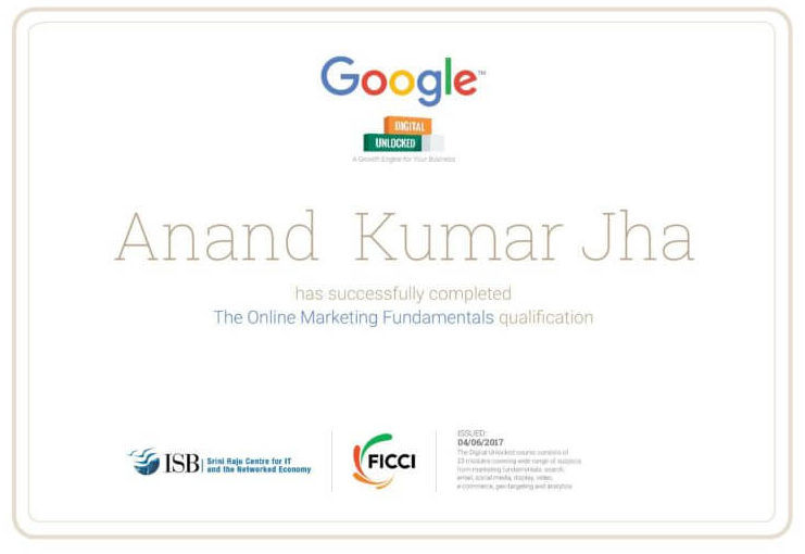 SEO Expert in Bangalore- Anand K Jha certified by Google