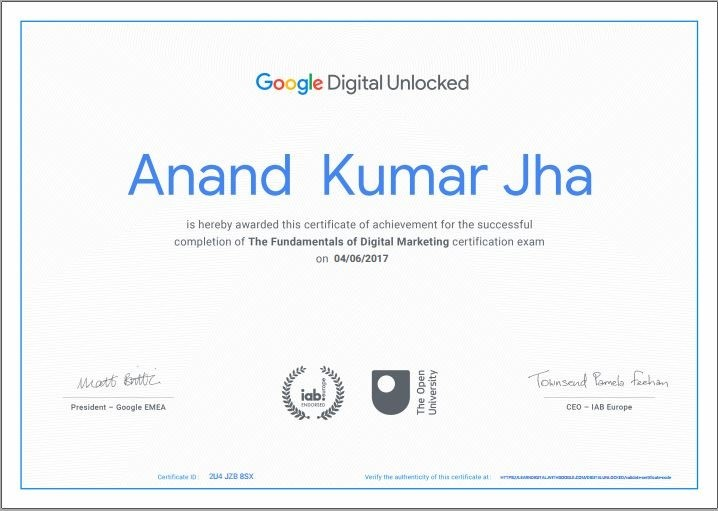 google digital unlocked certification 2019 to anandkjha best seo expert in india