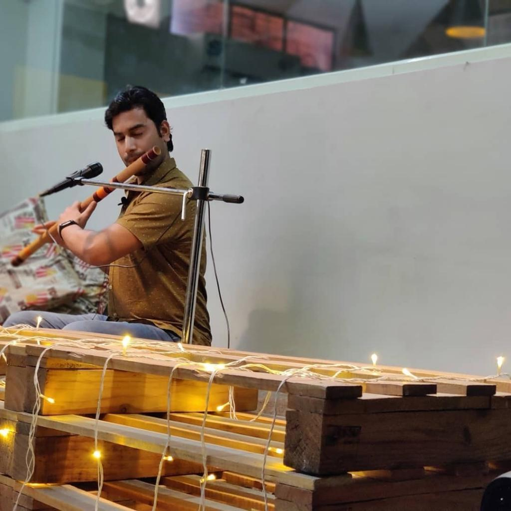 Anand Kumar Jha as a flautist in India