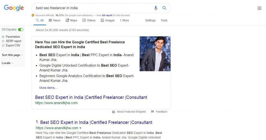 ranking top on best seo freelancer in india- AnandKJha
